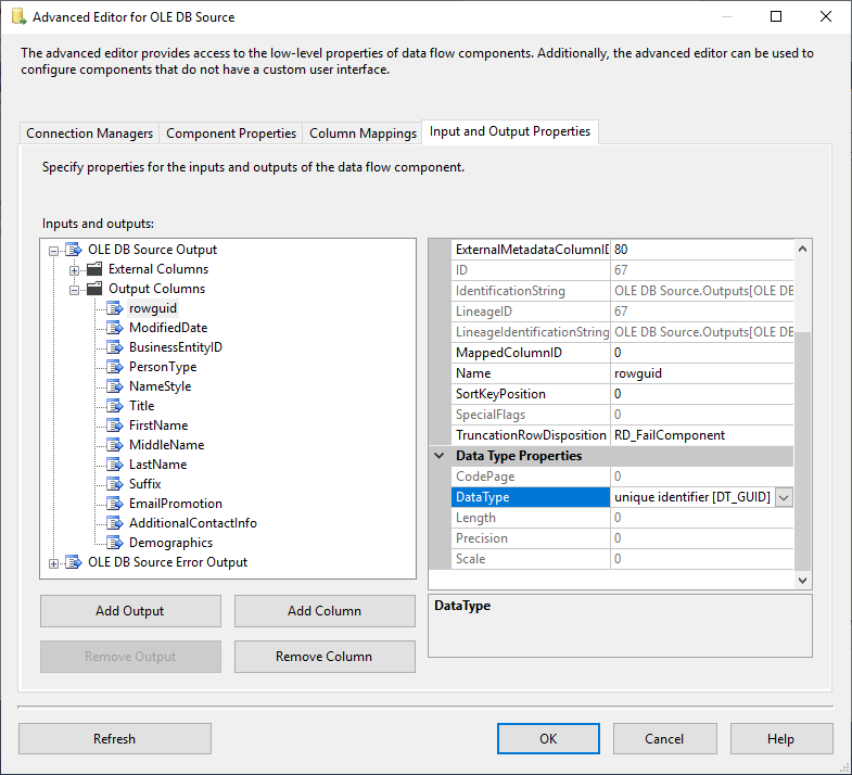 This image shows how to change the SSIS data types of the columns using the advanced editor