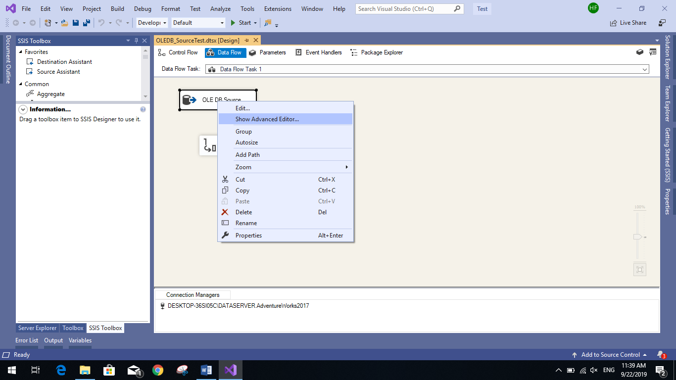 This image shows how to open the source advanced editor to change the SSIS data types of the columns
