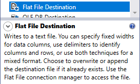 this image shows the description of ssis flat file destination component from the toolbox