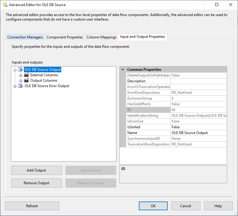 This image shows the Input and Output properties tab in the source advanced editor
