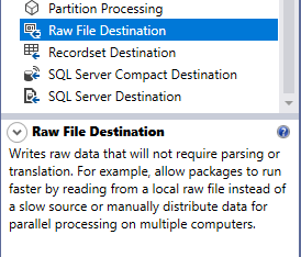 this image shows the raw file destination component description from the toolbox