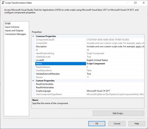this image shows the script tab page in the ssis script component editor