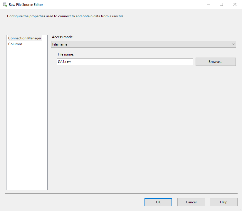 this image shows the ssis raw file source editor