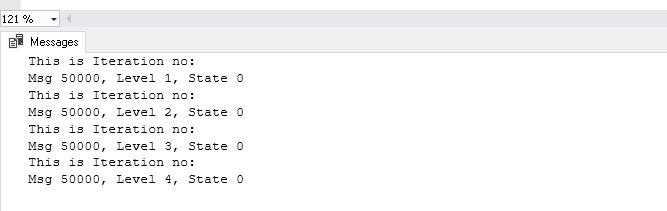 variable avec RAISERROR
