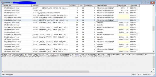 a screenshot of the sql profiler trace that we created in the experiment