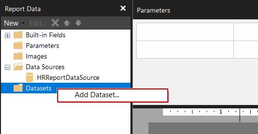 Agregar un nuevo conjunto de datos en el Generador de informes
