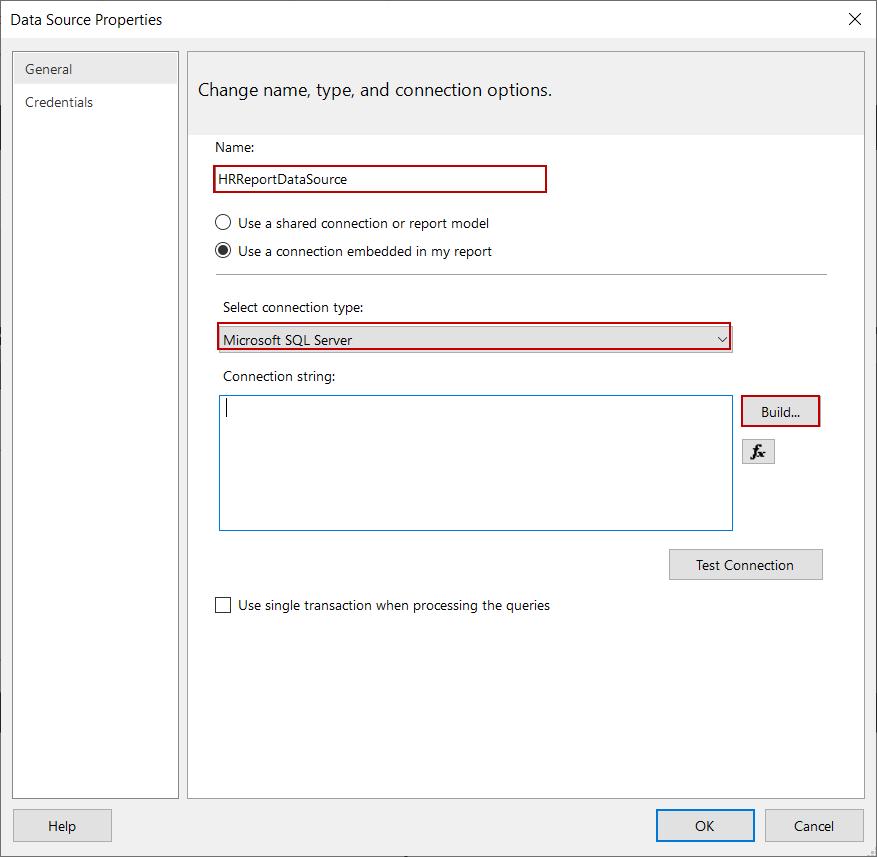 Configuración de conexión de origen de datos en el Generador de informes