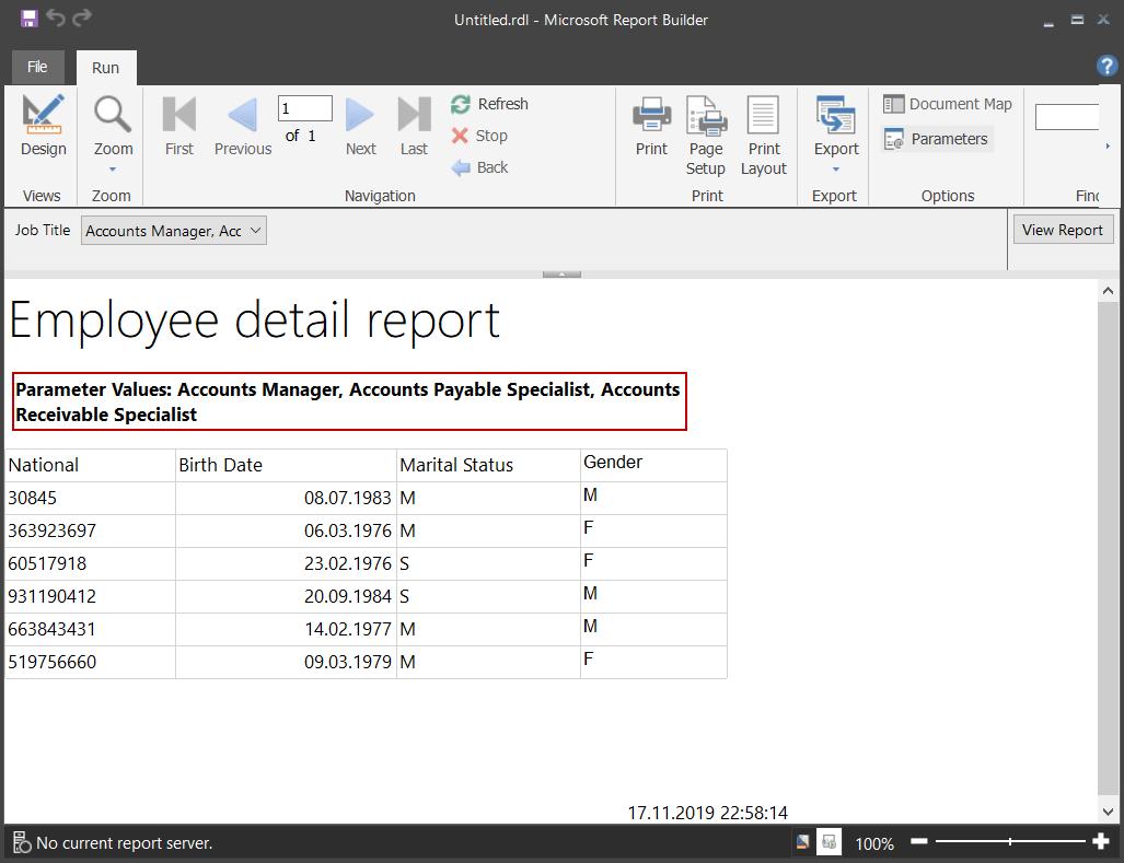 Mostrar las selecciones de parámetros de valores múltiples en el informe del Generador de informes