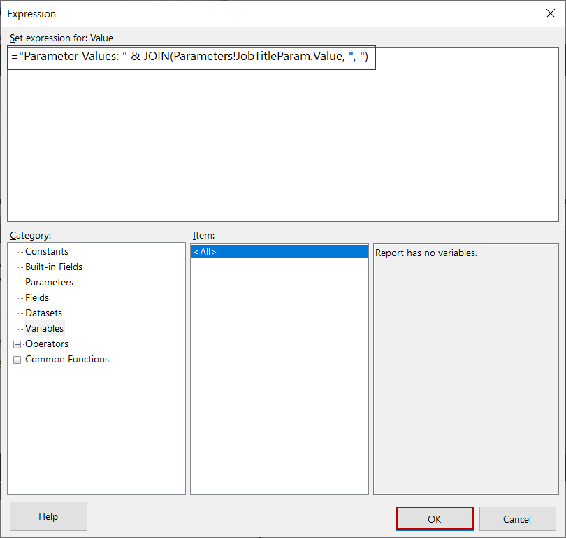 Mostrar las selecciones de parámetros de valores múltiples con ayuda de la expresión