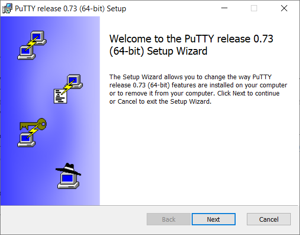 PuTTY welcome screen dialog