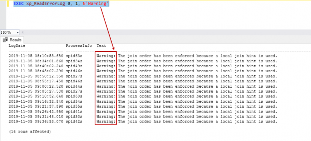 Reads current SQL Server error log and search for text 'Warning'