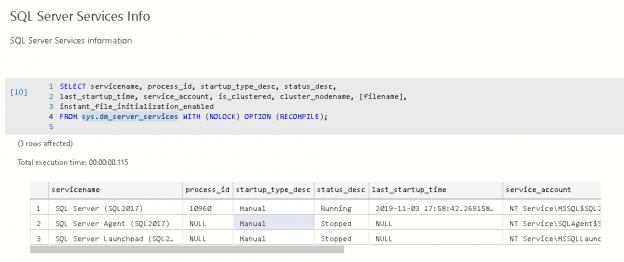 SQL Server Services Info