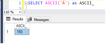 T-SQL statement for CHAR to ASCII