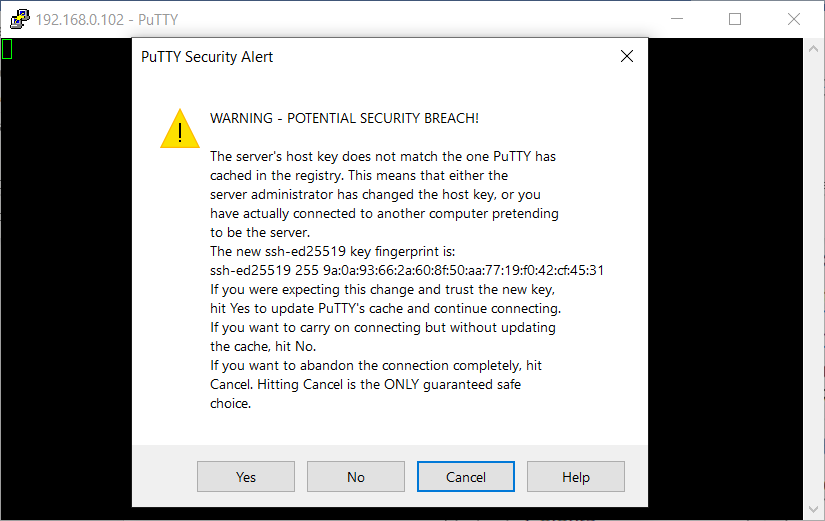 The PuTTY Security Alert dialog