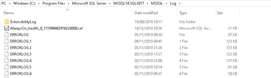 View error log in the log folder