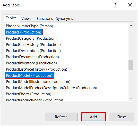 Add tables for view in SQL Server Management Studio