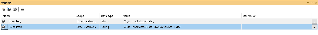 Add variables in SSIS package