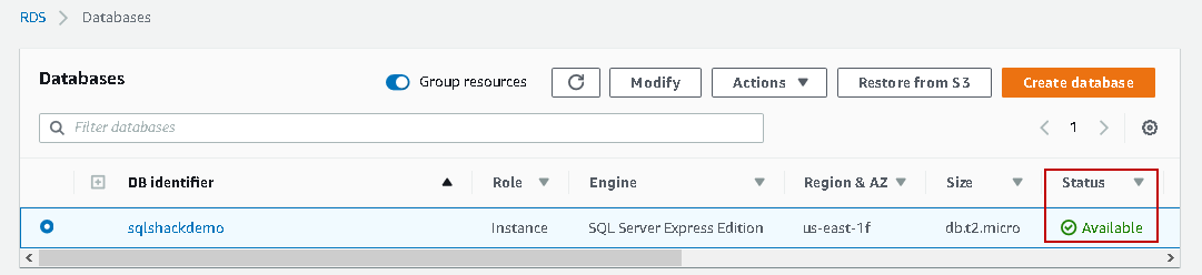 Available status of AWS RDS SQL Server