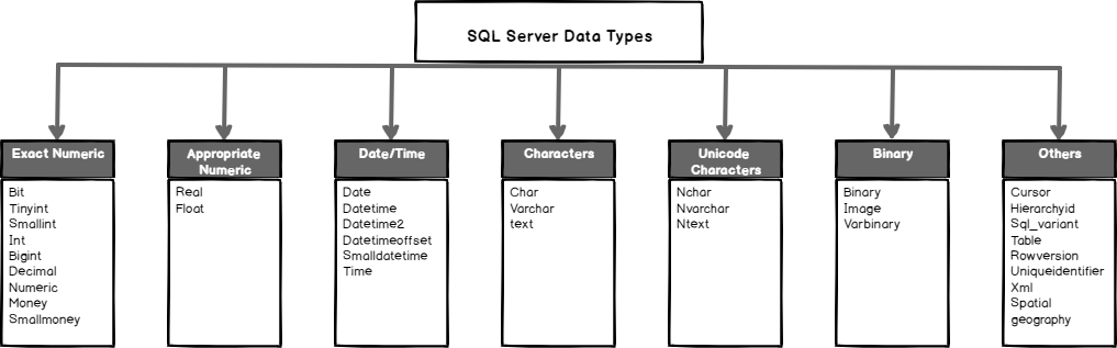 Categories of SQL Server Data Types