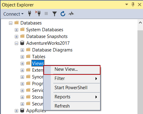 Create a view in SQL via SSMS
