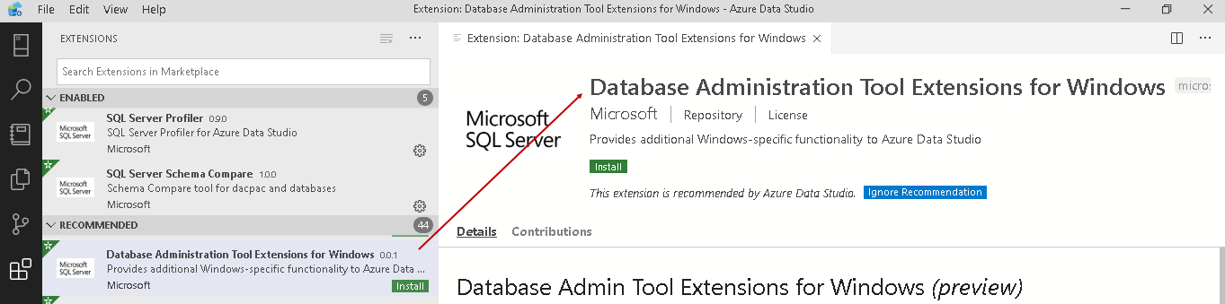 Database Administration Tool Extension for Windows