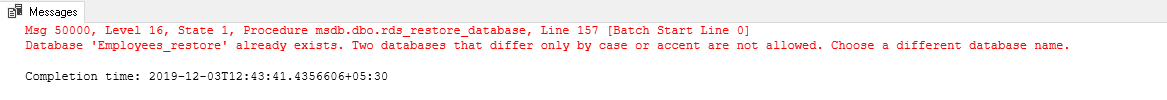 Error while overwrite a database