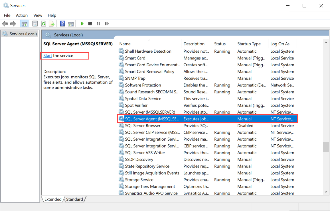 How to start the SQL Server Agent service using Services to fix the Agent XPs disabled error.