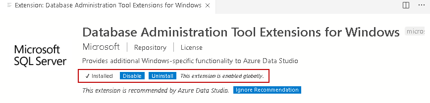Installation of Database Administration Tool Extension for Windows