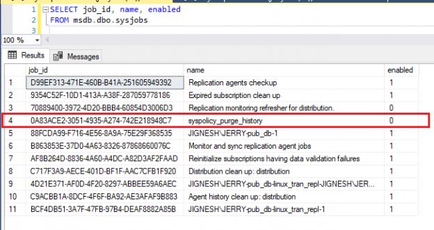 List SQL jobs with status