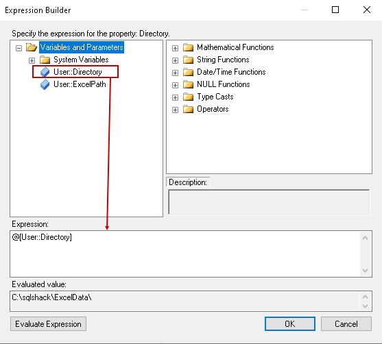 Specify expression for SSIS variable