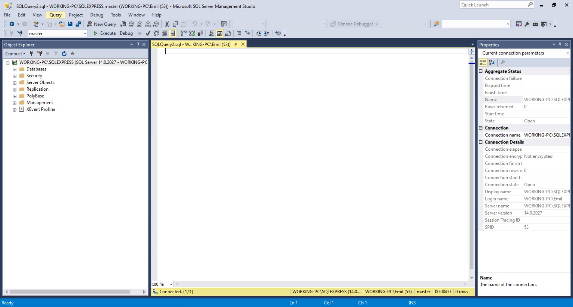 SQL Server - nueva consulta