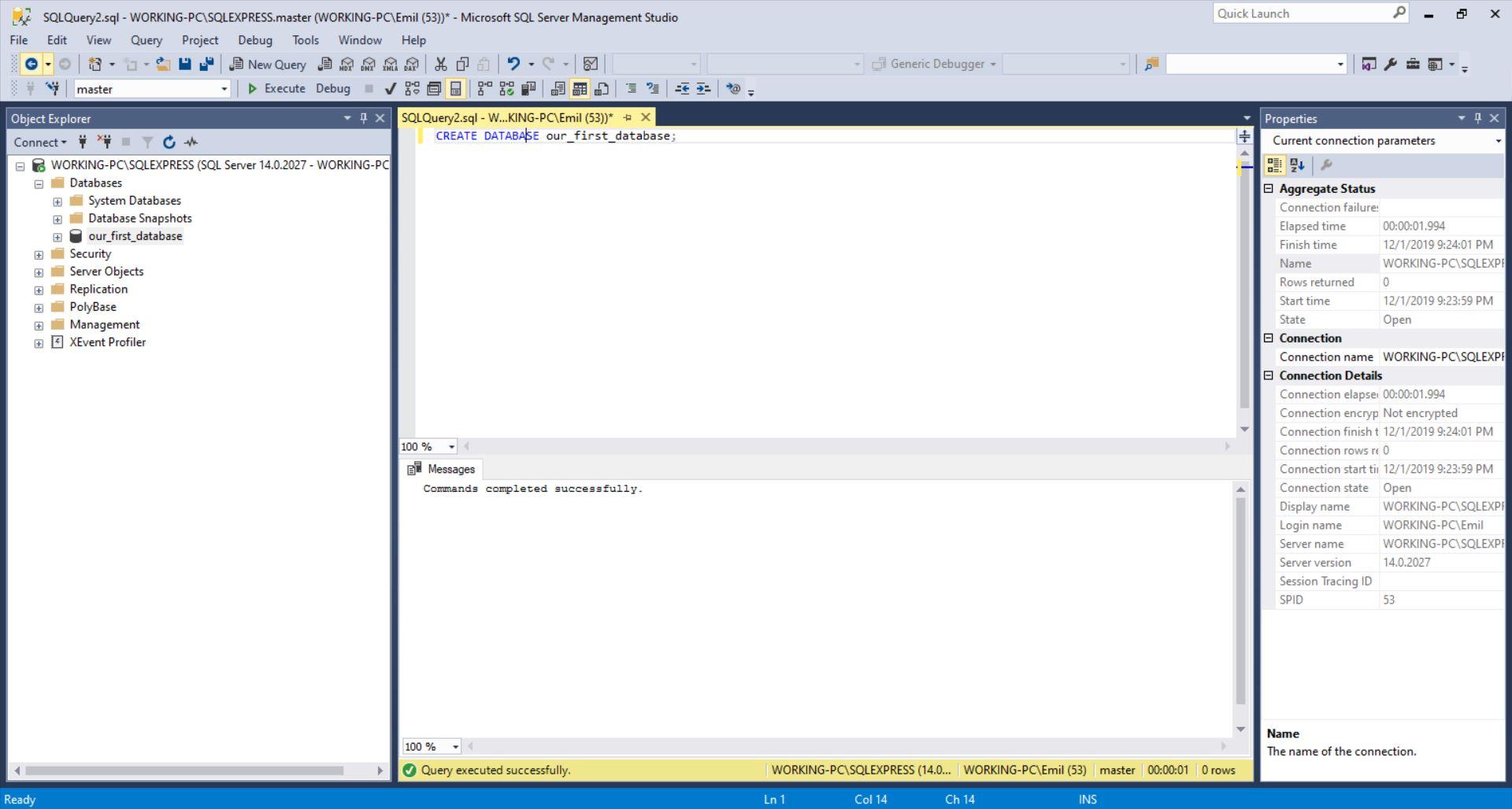 SQL Server - SQL CREATE DATABASE