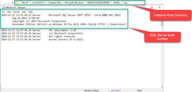 SQL Server version number in ERRORLOG file