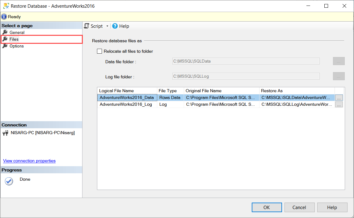 Change the destination of data file and log file