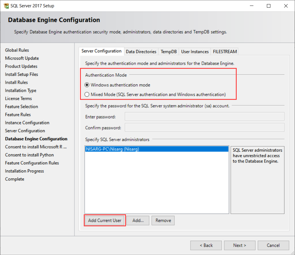 Configure authentication and specify SQL Server administrator