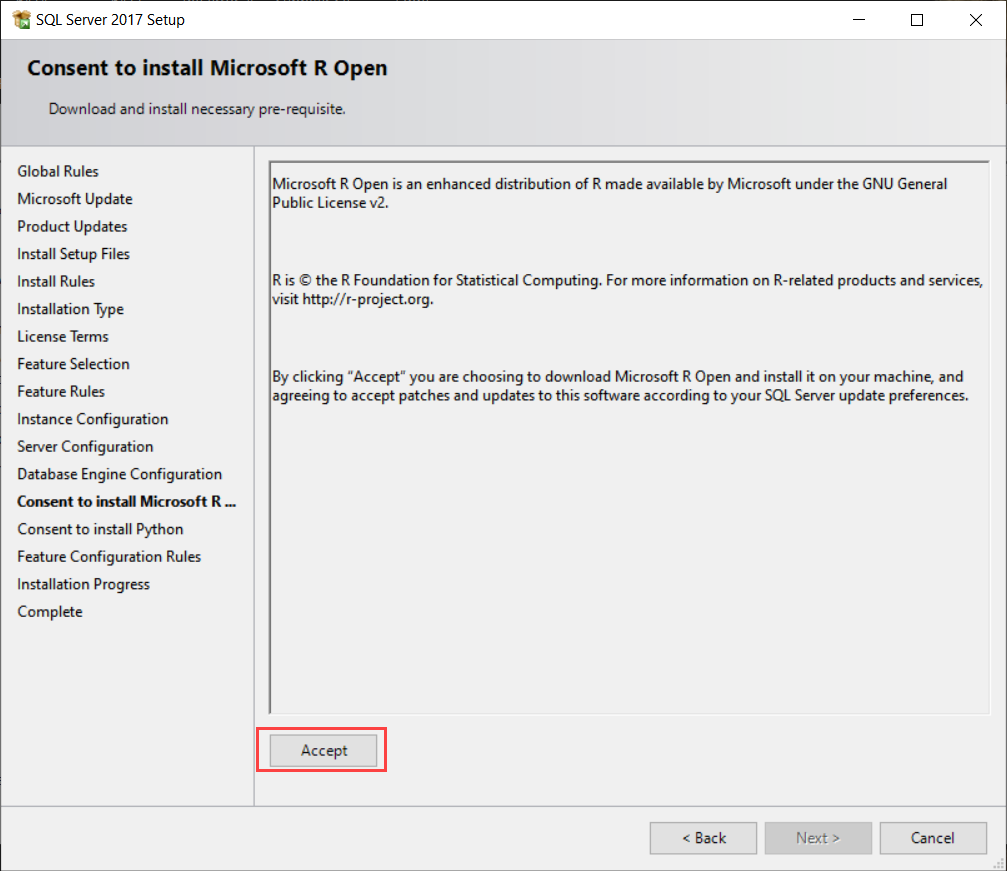 Consent to install Microsoft R