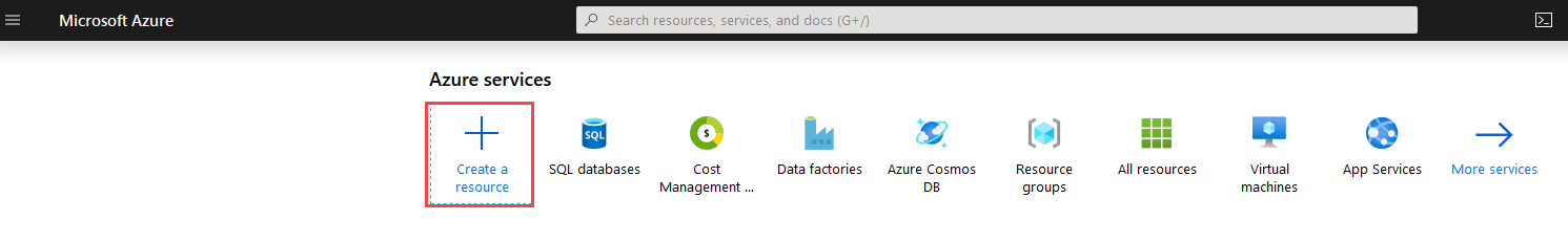 Create new resource on Azure Portal