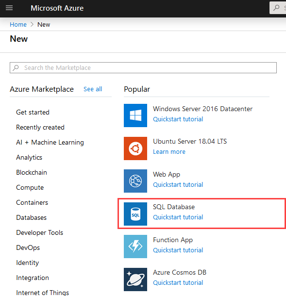 Create new SQL Database on Azure Portal