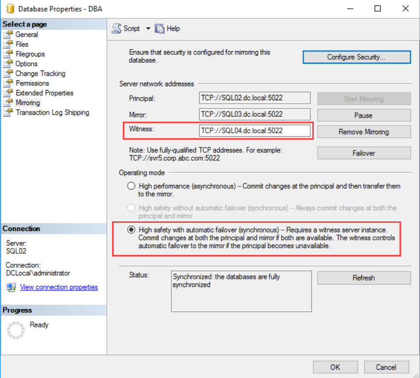 Configuring Sql Server Express Edition As Sql Witness Server In Database Mirroring