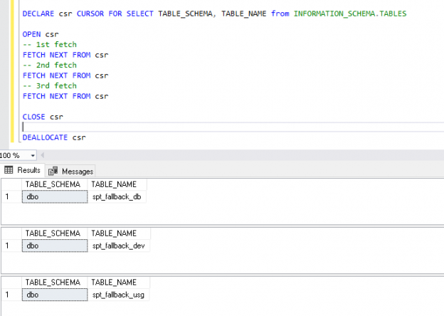 Fetch rows from SQL cursor without storing result into variables