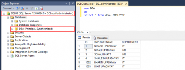 Query SQL03 to verify the data