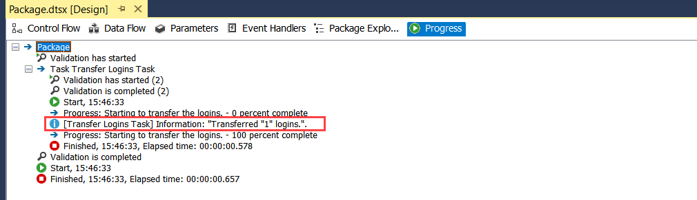 SSIS Package execution log