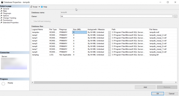 TempDB Database Properties
