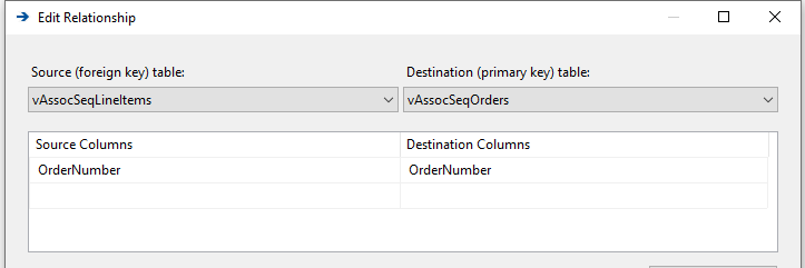 Verify the relatinship between the vAssocSqlLineItems and vAssocSeqOrders views.