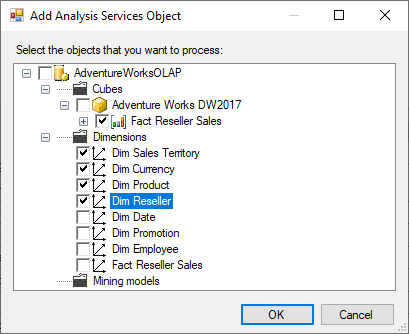 Adding analysis services object to be processed