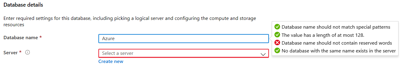 Azure SQL database names do not contain any reserved words