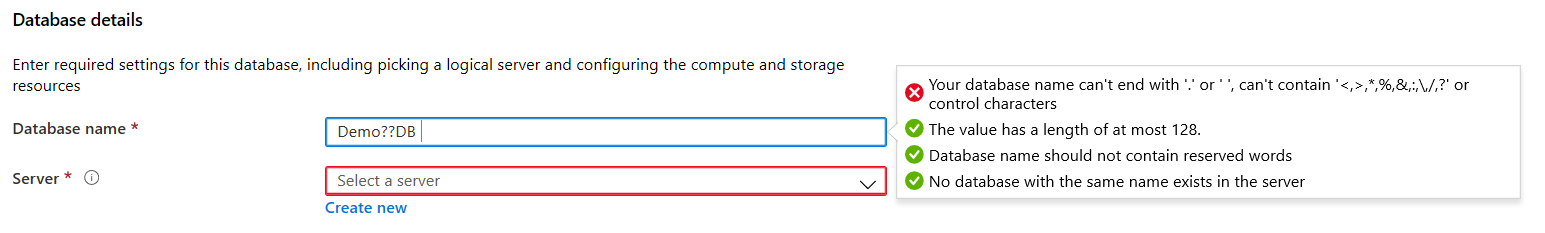Azure SQL database names do not contain any special characters