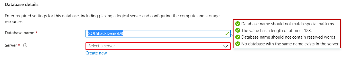 Azure SQL database names do not use the one database second time