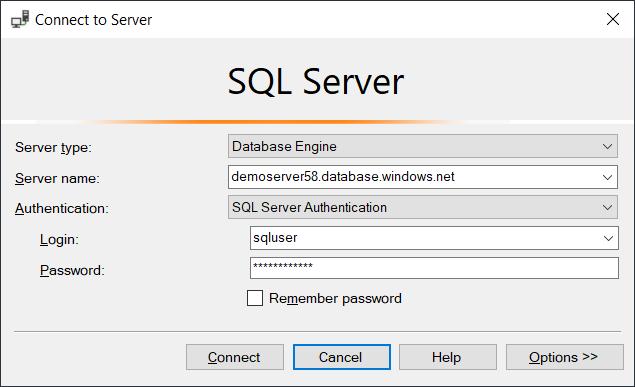 Connecting to Azure SQL database with SSMS
