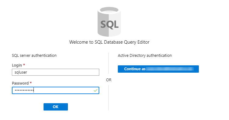 Connecting to SQL Database Query Editor on Azure